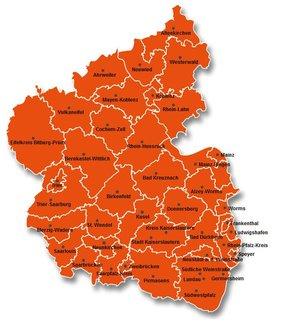 Karte Rheinland-Pfalz und Saarland