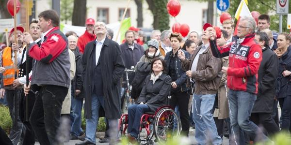 Malu Dreyer und Dietmar Muscheid bei der Demo am 1. Mai