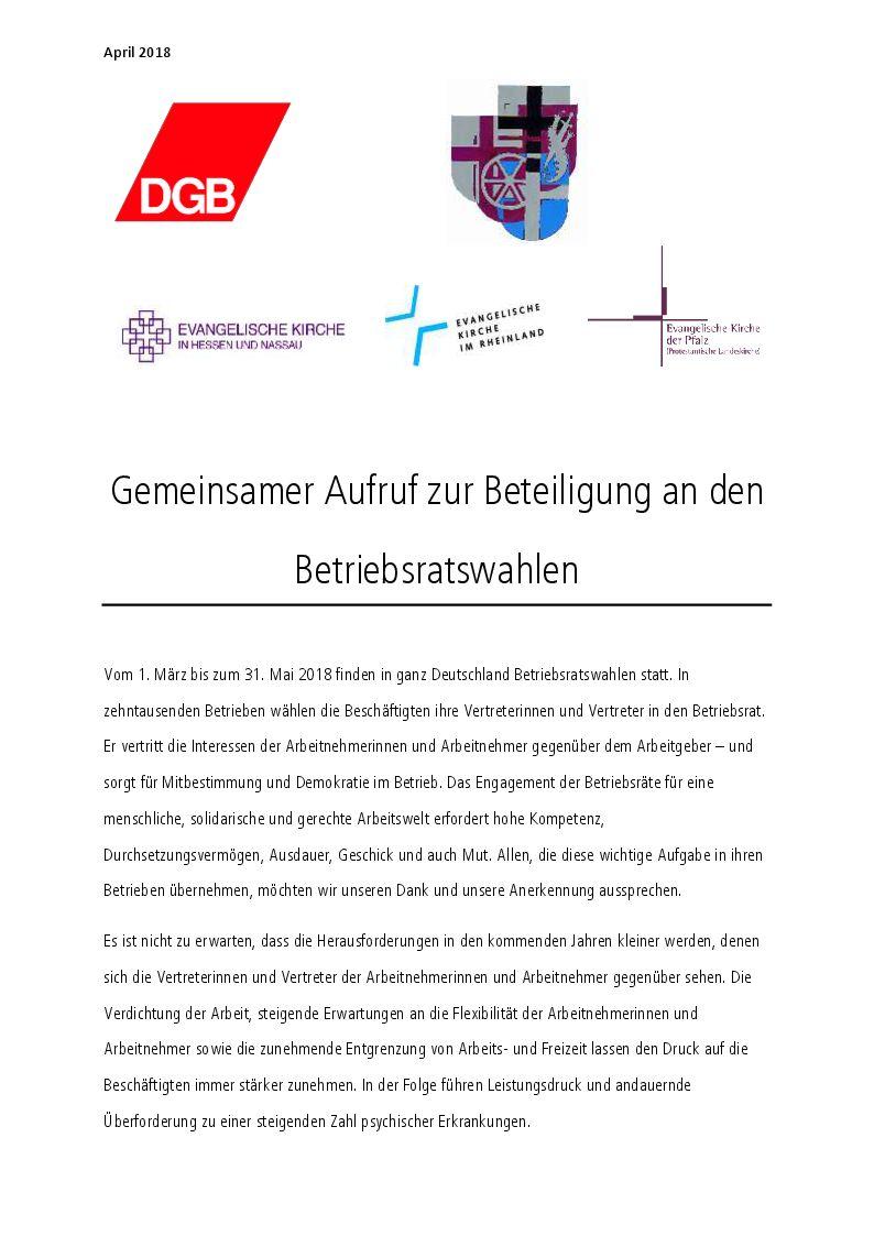 Gemeinsamer Aufruf zur Beteiligung an Betriebsratswahlen
