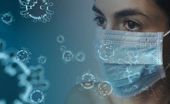 Viren und Frau mit Maske