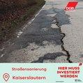 Westpfalz kaputte Straße
